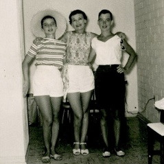 Ruby with Carol (left) and Sharon (right), Dec. 1956