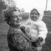 Evelyn with her first grandchild, Terri, c. 1961