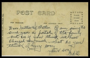 Back of postcard at left, addressed to his parents