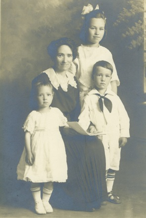 Esther with Ruby, Kenneth and Eileen, c. 1920. Esther had this portrait of her family taken after Arthur died to reassure her parents in England that she was doing fine.