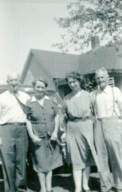 Esther (second from left) with Joe, Florence, and Jim Grindle, c. early 1950s