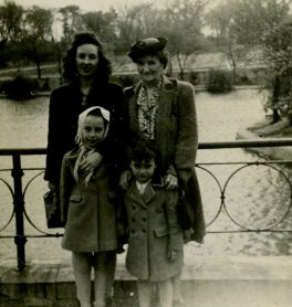 Esther with daughter Eileen and granddaughters Sharon (left) and Carol (right) at Glen Oak Park, c. mid-1940s