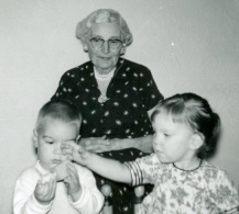 Edythe with great-grandchildren Steve and Terri, April 1963