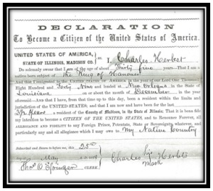 "Charles filed his ""first papers"" to become a U.S. citizen in 1858, relinquishing his allegiance to the King of Hanover."