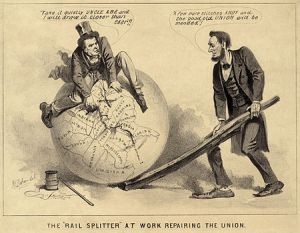 "A political cartoon of Andrew's day shows Vice President Andrew Johnson sitting atop a globe, attempting to stitch together the map of the United States with needle and thread. Abraham Lincoln stands, right, using a split rail to position the globe. Johnson warns, ""Take it quietly Uncle Abe and I will draw it closer than ever!!"" while Lincoln commends him ""A few more stitches Andy and the good old Union will be mended!"""