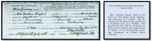 Caroline's death certificate showed her age as 57; her obituary indicated she was 54, which is consistent with census records. She died of cancer. The obit (which misspelled her last name) reports that Caroline left a husband and nine children, suggesting that nine children survived her. The numbers don't quite add up, even if stepchildren are included in the count.