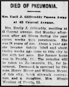 Emily's obituary, from the Oshkosh [Wisconsin] Daily Northwestern. Tuesday, August 13, 1901.