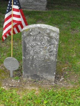 On July 21, 1925, an application was made for a military headstone (provided by the U.S. Government for soldiers with unmarked graves), The stone was placed in 1927. It reads: MUS'N WM H NICHOLS CO E 36 ILL. INF.