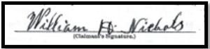 William's signature, 1890
